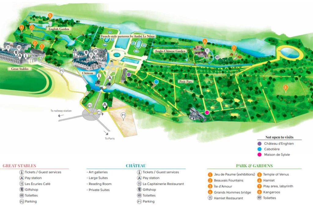 Castelo de Chantilly - Mapa do Domaine